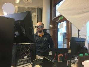 Jonas wearing 3D glasses and testing a monitor